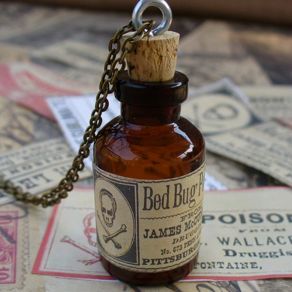 Steampunk Victorian goth Wicca witch wizard flask bottle pendant charm necklace POISON  Victorian Alice in Wonderland--MINI shot bottle