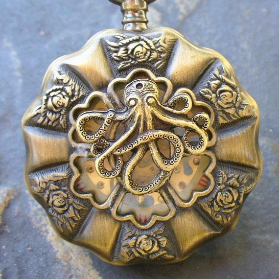 SALE -----  Steampunk Captain JACK SPARROW pocket watch key Necklace locket pirate Victorian  locket pendant charm