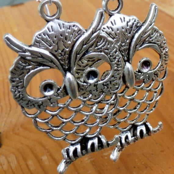 Steampunk Pirate Victorian goth  earrings pendant charm WISE OWL wedding earrings