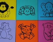 Lot Set of 6  Zoo Whimsical Animal Child Wall Art Decor Dr Office Children Canvas Painting