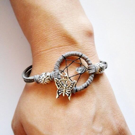 Tourmaline Quartz Dreamcatcher Bracelet w/ Butterfly