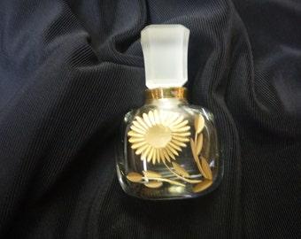 ANTIQUE LA CASTILLERE 24kt Gold Etched Perfume Bottle Made in France