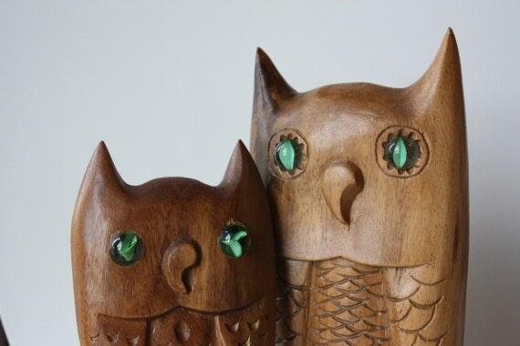Wild Things Duo vintage carved wooden owls with marble eyes