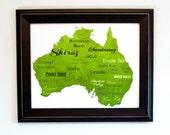 """Best of Australian Wine Word Art, 11""""x14"""" on Fine Art Paper"""