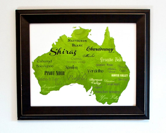 "Best of Australian Wine Word Art, 11""x14"" on Fine Art Paper"