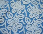 Blue Flower Hofmann Vintage Chenille Bedspread FABRIC Piece