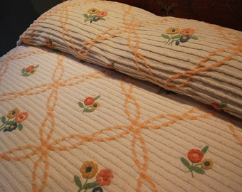 Floral Vintage Chenille Bedspread - Stunning Window Panes Filled With Flowers - REDUCED