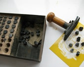 Vintage Printing Number Rubber Blocks and Wooden Stamp in 1950s Metal Army Box WAS 30GBP