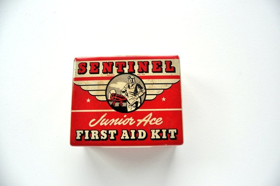 Vintage Storage Tin Box Red and White First Aid Kit Aviation Theme