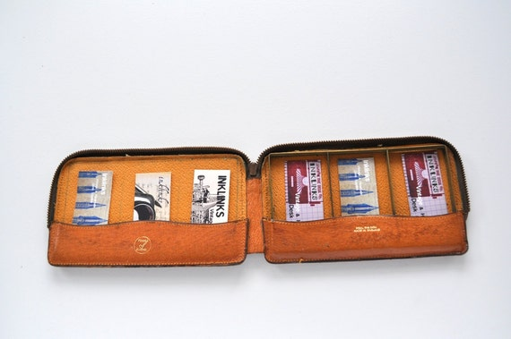 Vintage English Leather Business Card Holder Repurposed Case for MOO Cards