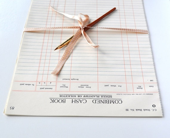 Vintage Ledger Paper 1960s English Cash Book 12 Sheets RESERVED