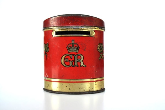 Vintage English Souvenir Tin Box George VI Coronation 1937