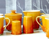 Vintage Yellow Carefree 9 Piece Tea Set (with salt and pepper shaker) - Calypso China by Syracuse