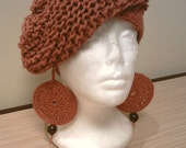 Spice Slouch Hat Slouchy Beret with free matching beaded crochet earrings Rust Color earth tones 100% Cotton