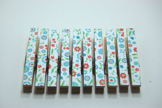 Clothespins blue and red floral set of 10 glittered