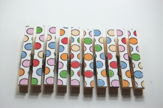 Clothespins animal print polka dots on a white background set of 10
