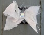 White Silk Bow Hair Clippie