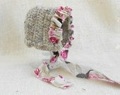 Vintage Style Wool Newborn Bonnet With Floral Ruffle- Photo Prop