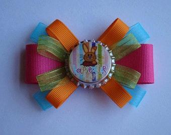 "Easter Bunny Stripes loopy hair bow - 3"""