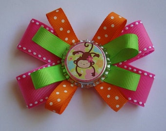 "Monkey loopy hair bow - 3"""