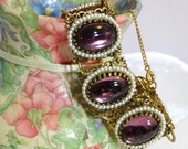 Antique Sundown Purple and Pearl Bracelet and Earring Set