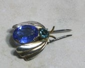 Antique Blue Jeweled Fur Clip