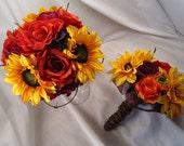 Sunflower, Rose and Hydrangea Hand-Tied Bouquet set