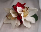 Red, Black, and White Orchid and Hydrangea Corsage