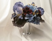 10 Blue and Plum Hydrangea and  Purple Bearded Iris Julep  Cup Centerpieces