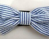 Dog Flower, Dog Bow Tie, Cat Flower, Cat Bow Tie - Blue Seersucker