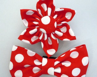 Dog Flower, Dog Bow Tie, Cat Flower, Cat Bow Tie- Red Polk Dots