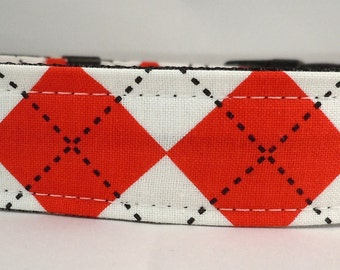 Dog Collar, Martingale Collar, Cat Collar - All Sizes -  Red and White Argyle