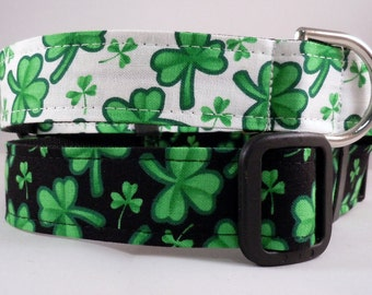 Dog Collar, Martingale Collar, Cat Collar - All Sizes - St Patrick's Day Four Leaf Clover