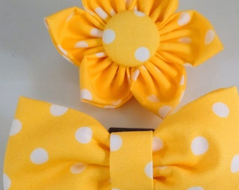 Dog Flower, Dog Bow Tie, Cat Flower, Cat Bow Tie  - Yellow Polka Dots
