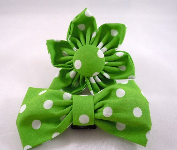 Dog Flower or Bow Tie - Green Polka Dots