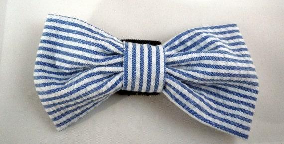 Dog Bow Tie or Flower - Blue Seersucker
