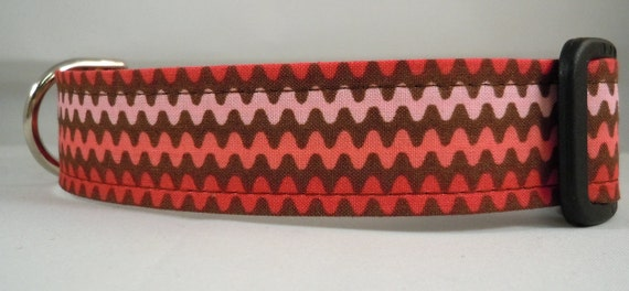 Dog Collar, Martingale Collar, Cat Collar - All Sizes - Pink and Brown Chevron