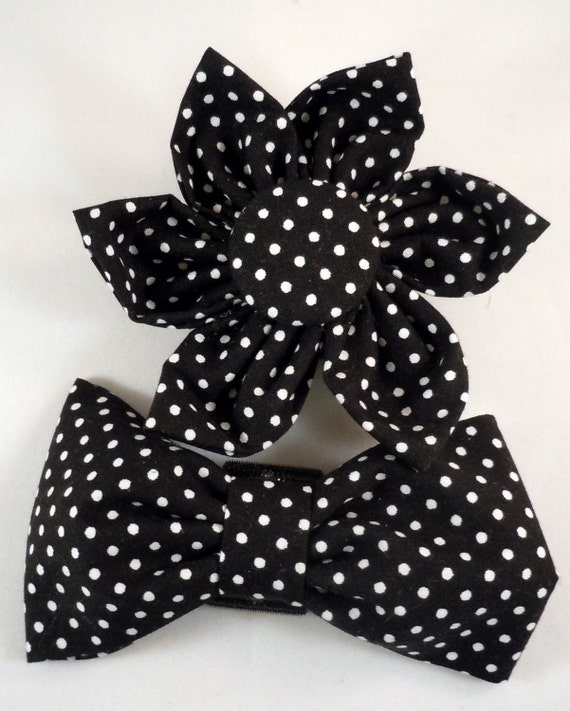 Black Flower Bow With Diamond: Dog Flower Or Bow Tie Black And White Polka By