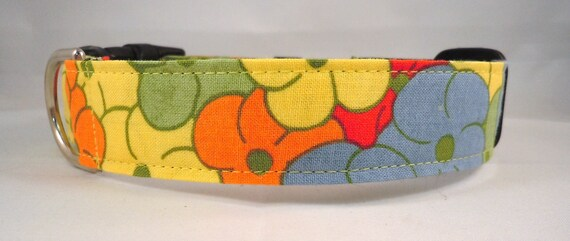 Dog Collar - Dog,  Martingale or Cat Collar - All Sizes -  Fields of Flowers