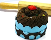 Chocolate Cupcake Washcloth with Sprinkles - Big Blue Dots
