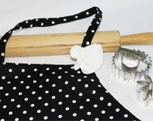 Black n White Polka Dot Adult Apron with Rose Pin
