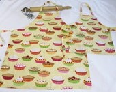 Pies on Yellow Mother Daughter Aprons