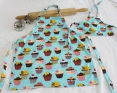Retro Teal Cupcake Doll and Child Matching Apron Set
