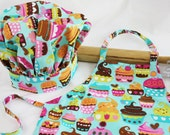 Sweet Cupcakes Child Apron and Adjustable Chef Hat - teal