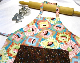 Frosted Cupcake Child Apron with Chocolate Sprinkles Pocket