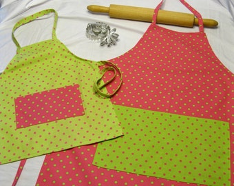 Pink N Lime Green Mother Daughter Aprons
