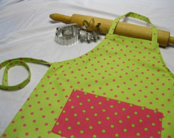 Lime Green N Hot Pink Child Apron