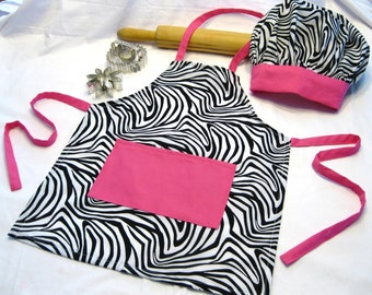 Zebra and Hot Pink Child Apron and Adjustable Chef Hat