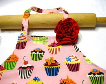 Retro Pink Cupcakes Child Apron with Fabric Rose Pin