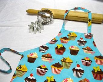 Retro Cupcakes on Teal Child Apron